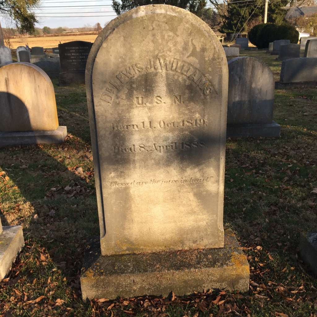 Tombstone, Dr. Lewis J. Williams, Churchville Presbyterian Cemetery, Churchville, Harford County, MD.