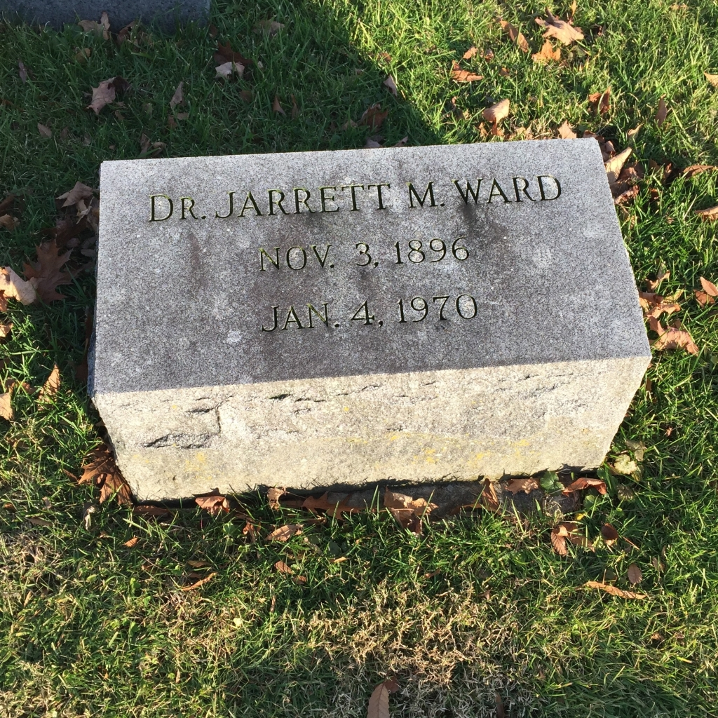 Tombstone, Dr. Jarrett M. Ward (1896-1970), Churchville Presbyterian Church, Churchville, Harford County, MD.