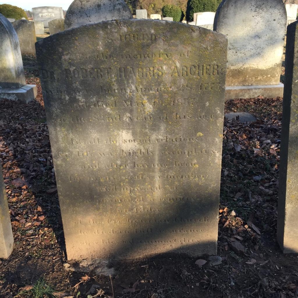 Tombstone, Dr. Robert Harris Archer, Churchville Presbyterian Church, Churchville, Harford County, MD.